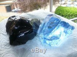 Deux Pièces Andara Cristal Glas 700gr Bleu Arctique. Dragon Noir Foncé Monoatomique