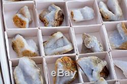 Druzy Calcédoine Bleue Geode Lot De 35 Pièces Du Malawi
