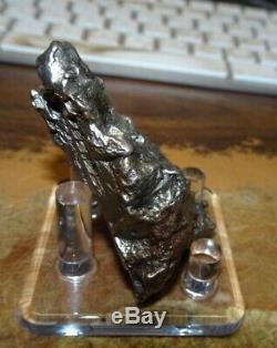 Énorme 110 Gm Campo Del Cielo Meteorite Crystal! Piece Grande Grande Taille Avec Support