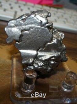Énorme 116 Gm Campo Del Cielo Meteorite Crystal! Piece Grande Grande Taille Avec Support