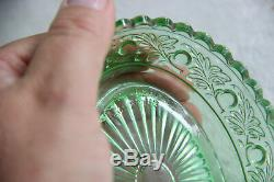 Ensemble Commode De Toilette En Cristal De Verre Vert Pomme-saint-lambert Antique De 8 Pièces