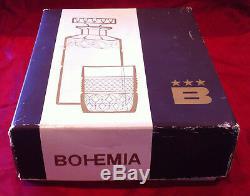 Ensemble De 7 Morceaux De Carafe De Whisky En Cristal De Bohême Tchécoslovaque