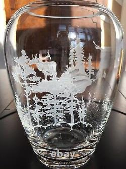 Evergreen Crystal Vase Scene Signed Art Piece Collectible