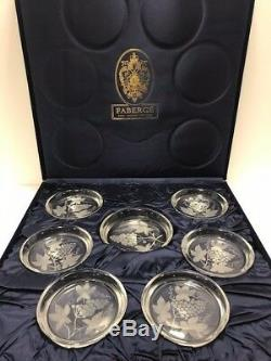 Faberge 6 Crystal Beverage & 1 Coaster Ensemble Signé 7 Pièces