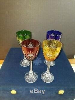 Fabergé Cristal Vin Gobelets. 4 Pièces Set. Nouveau Avec La Boîte