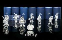 Figurines En Cristal Swarvoski Blanche-neige Et Les Sept Nains 9 Pièces