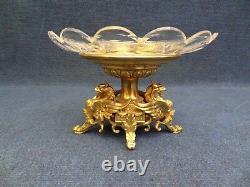 Français, Niii Doré Bronze Et Cristal Pièce Centre Dragon Style Néoclassique 1860