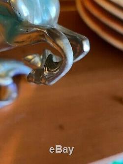 Franklin Mint Étain Licornes De La New Age Avec Crystal Ball 2 Pièces
