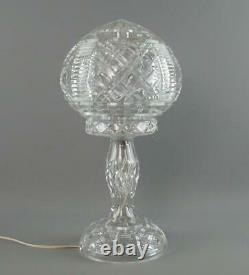 Grand Vintage Art Deco 2 Pièces Coupe Verre Cristal Globe Mushroom Lampe De Table