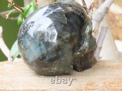 Grande Pièce D'affichage En Cristal De Crâne De Labradorite Poli Sculptée À La Main