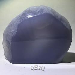 Haut! Chalcedony Bleu Naturel Cristal Brut Poli Poste De Station Turquie 382gs221