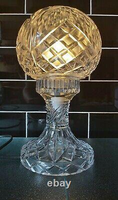 Impressionnant Verre Vintage Coupé Cristal Art Déco 2 Pièces Mushroom Globe Lampe De Table