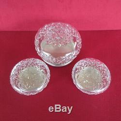 Jwb Sterling Art Deco Cristal 3 Piece Set Vanity Poudre Poinçonnés 1934 Jar