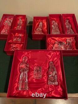 La Nativité En Cristal De Waterford A Placé 11 Morceaux Dans Des Boîtes Originales