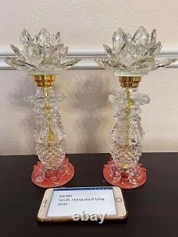 Lampe À Lotus En Cristal De Taïwan (2 Pièces)