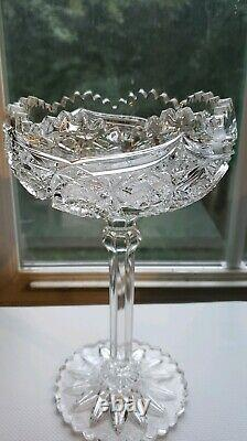 Lead Crystal Compote Sawtooth Trim & Foot Excellent Vintage Rare Piece