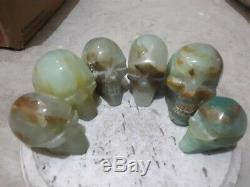 Los De 6 Morceaux De Crâne Andal Bleu Opal Naturel Poli Gold Skull Skull