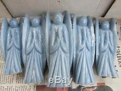 Lot De 5 Pièces! Angelite Ange - Pierre Sculptée - Cristal Naturel Poli
