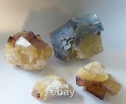 Lot De Fluorite 4 Pièces Multicolores! De Cave In Rock La Mine De L'illinois