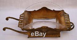 Magnifique 19c Art Nouveau Français Bronze Cut Crystal Centre Piece