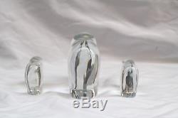 Magnifique Collection De Trois Pièces D'éléphants En Cristal De Baccarat