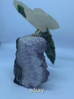 Magnifique Main Sculptée Améthyste Quartz Malachite Pièce D'affichage Ornementale Pour Perroquet