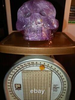 Natural Amethyst Crystal 4.00 Crâne 1 Lb 12 Oz Magnifique Pièce