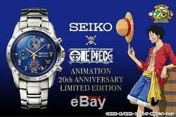 One Piece Seiko Montre 20ème Anniversaire Limitée Luffy Chronographe À Quartz Bleu
