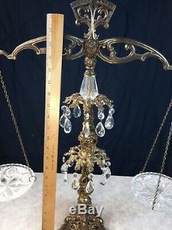 Ornement Anciennes Laiton Et Balance De Cristal Équilibre Conversation Piece 2