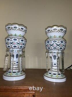 Paire De Lampes À Manteau En Cristal Vintage Avec Prisms-beautiful Estate Pieces
