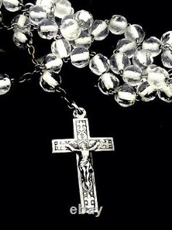 Perles Antiques En Cristal De Chapelet De Prière D'argent Hallmarked Pièce Religieuse Très Fine