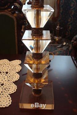 Pièces Cristal Ambre, Socles Et 4 Pièces, 3 Lampes A5