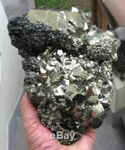 Pyrite Brillants Cristaux & Tetrahedrites Du Pérou. Chef-d'oeuvre. Non Endommagé