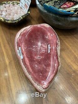 Qualité Musée Piece Rhodochrosite Stalactite Poli Cristal Bowl Tranche Agate