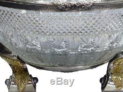 Rare Bol Russe En Argent Et Cristal Avec Une Pierre Centrale