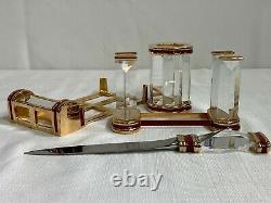 Rare Swarovski Cristal Executive 4 Pièces De Bureau En Or Signé Swarovski