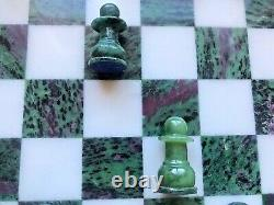 Ruby Zoisite Gemstone Chess Pieces And Board