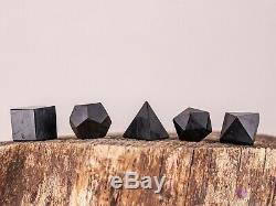 Shungite Platonicienne Solides 5 Pièces Géométrie Sacrée Crystal Set De Guérison E0307