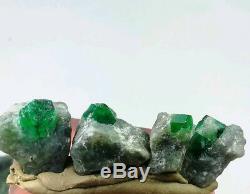 Spécimens De Cristal Émeraudes De 10 Pièces De 302 Carats Provenant De La Mine Swat Au Pakistan