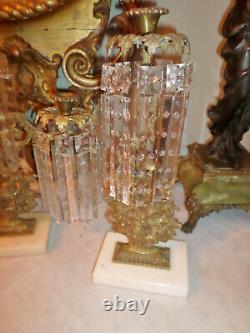 Spectaculaire! Antique Ensemble De Trois Pièces De Girandole /candelabra Énorme 7 Cristal Prisme