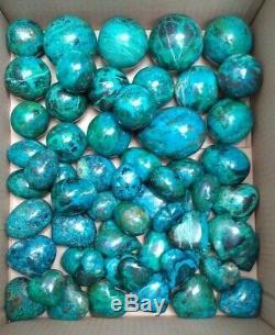 Sphère / Boule Coeur Oeuf De Malachite Chrysocolla 58 Morceaux 9.620 Grammes Du Pérou