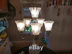 Superbe Antique Cristal 6 Light Center Piece Lampe De Table
