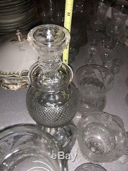 Superbe Collection Imported Edinburgh Thistle (cut) Verres En Cristal 60 Pièces Et Plus