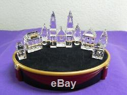Swarovski 8 Piece Crystal Silver City House Set 1 & 2, Cathédrale, Peupliers