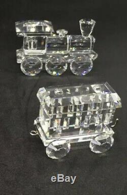 Swarovski Crystal Lot De 3 Pieces Train # 7471 1 Moteur Essence Wagon De Voitures Coa