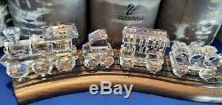 Swarovski Crystal Set Complet Avec Train En Bois Track 7 Pièces W Coa