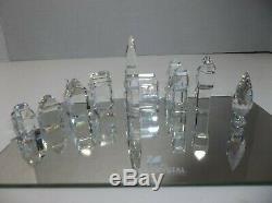 Swarovski Figurines Crystal City Avec Miroir De Présentation 9 Pièces