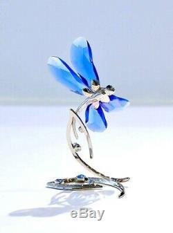 Swarovski Scs Bleu Libellule Event Piece 2014 Métal Et Cristal Stand 5.004.731 Nib