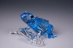 Swarovsky Cristal Scs Blue Dart Frog Piece Événement Figurine 955439 Mib Avec Cert