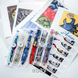 Swatch 1995 Artist Collection Set 6 Pièces Limited Edition Watch Withposter